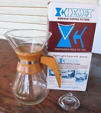 VTG CHEMEX Drip Coffee Maker Carafe Pitcher Blown Glass Wood Handle LID Filters