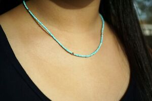 Faceted Round Turquoise Beaded Necklace With Gold-Filled Beads Tiny Bead 16.5''