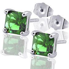 Green Cubic Zirconia 9K White Gold Filled Ladies Stud Earrings F3956