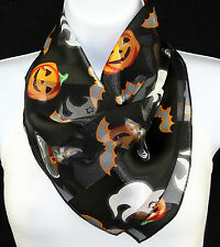 Witch Hat Womens Halloween Scarf Witch Pumpkin Bat Ghost Gift Black Scarves New