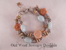 Chunky Cowgirl Bracelet - Amazonite - Jasper & Carved Pink Quartz Flower Beads