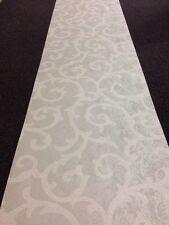 Seriano Italian Vinyl Swirl Rococo Grey Silver White/cream Designer Wallpaper