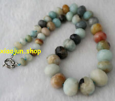 NATURAL FACETED 8-20mm Green Abacus Amazonite Graduated Gem Necklace 18''L