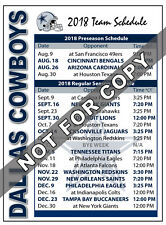 2018 Dallas Cowboys Football Schedule Magnet - NFL (High Quality Magnet)