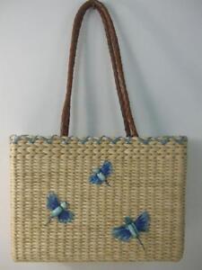 Vtg Natural Corn Husk Dragonfly Straw Tote Shoulder Handbag Aqua Interior Fabric