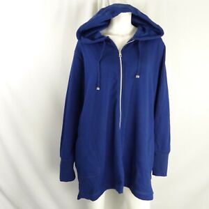 Isaac Mizrahi Live! Large SOHO Plushed Back Zip-Front Hoodie Galaxy Blue 3X
