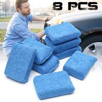 8Pcs Blue Microfiber Applicator Sponge Pads For Car Wash Wax Polishing  !