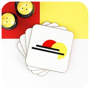 Bauhaus Coasters set of 4,  Modernist Drinks Coasters, Geometric minimalist mats