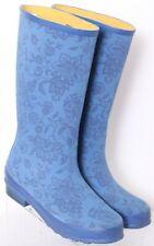 L.L. Bean Wellie 283208 Blue Floral Print Pull-On Tall Rain Boots Women's US 10M