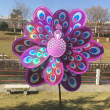 Peacock Windmill Garden Ornaments Wind Spinner Whirligig Kids Toy Rose Red