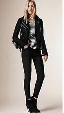 Burberry Brit Woman Arnstead Suede Leather Moto Jacket Msrp 2195
