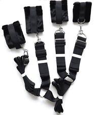 Under Bed Restraint System Cuffs Strap Set Black Nylon Soft Bed Restraint NEW