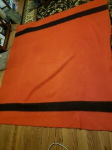 Vintage Golden Dawn Luxury Quality Blanket 100%  Wool Striped  Red and Black