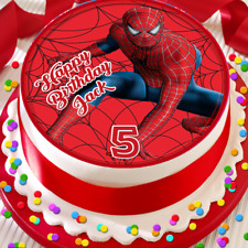 SPIDER-MAN HAPPY BIRTHDAY PERSONALISED 7.5 INCH EDIBLE CAKE TOPPER  B-022G