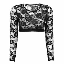 M Women Ladies Sexy Lace Long Sleeves Crop Tops Blouse Mesh See Through T Shirt