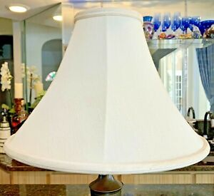"✨ Softback Bell Lamp Shade ~ Off White Ivory Linen ~ 10"" x 15"" x 5"" ✨"