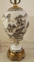 Antique Beautiful Japanese Hand Painted Signed Porcelain Vase Urn Table Lamp