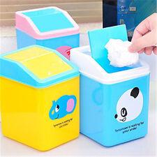 Mini Cartoon Trash Basket Garbage Can Plastic Bin Desktop Wastebasket New G!