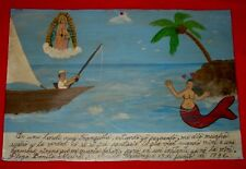 Mermaid Falling in Love Wtih Fisherman Retablo Ex Voto Folk Art