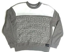 SUPERDRY ATHL LEAGUE Varsity Sz M Men's Pull Over White & Grey Sweater