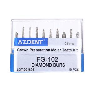 AZDENT Dental Diamond Bur Set Crown and Bridge Preparation Posterior Molar Teeth