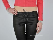 Kunstlederhose Schnürung Lederimitat Jeans Bikerhose Hose Gr.XS S M L XL #006