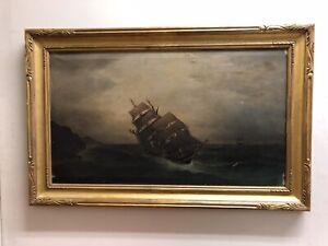 Oil On Canvas  Ship At Sea. Antique Early 1800's
