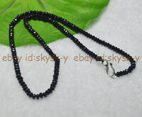 23inches 2x4mm Black Agate Faceted Roundel Gems Beads Necklace Silver Clasp AAA