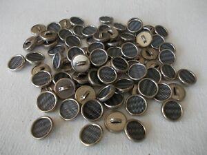 Vintage Metal Shank Buttons Moiré Effect 12mm 84 In Total