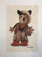 VINTAGE PAINTING ILLUSTRATION  Cowboy Mickey Mouse Stephen Heigh
