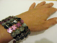 Vintage Purple silver grey black shell linked Chainmail cuff Broad bracelet
