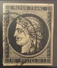 France N° 3 20 c Noir Oblitéré CAD TB Qualité Cote 250€