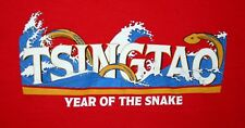 Tsingtao Year of The Snake Red Cotton Womens T-Shirt New Size Small 2013 Nos