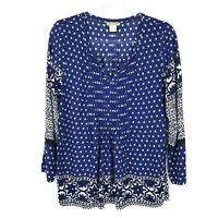 Lucky Brand Women's Pleated Floral Print Boho Long Sleeve Top Blue Small