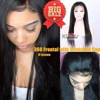 360 Lace Frontal 7A Brazilian Yaki Straight Virgin Remy Human Hair Full Closures