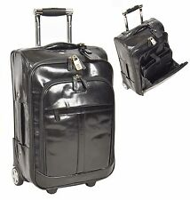 Real LEATHER Suitcase Luggage Exclusive Weekend Cabin Travel Trolley Bag BLACK