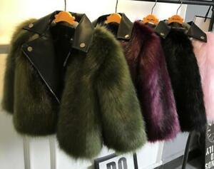 Winter Toddler Baby Girl Faux Fur Leather Coat Outwear Warm zip Jacket Snowsuit