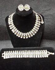 Vintage Lisner Gold Rhinestone Necklace Earring Bracelet  Cleopatra Fringe #17