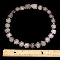 Antique Vintage Nouveau Sterling 900 Silver Mexican Centavos HUGE Coin Necklace