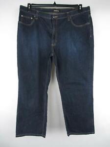 Claiborne Men's sz 42X30 Solid Blue Cotton Rinse Wash Relaxed Jeans