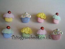 8 cupcake/fée gâteau/sweet traiter sur le thème de paillettes/floqué craft boutons