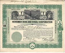 1924 New York Herkimer Iron & Steel Corporation Stock Certificate #63 Salisbury