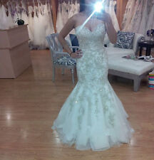 White / lvory and silver Mermaid Wedding Dress Bridal Gown Custom all size 2-26W