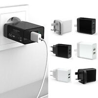 17W 5V 3.4A Fast Dual Twin 2 Port USB Charger Mains Wall Plug Adapter For iPhone