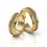1 Paar Trauringe Hochzeitsringe Gold 585 - Bicolor Gelbgold/Weißgold - B: 6,5mm