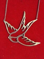 Silver Plated Bird Blue Jay Flying Wings Necklace Wedding Perfect!