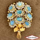 Vintage Diamond 7.11ct Opal 18K Gold Flower Bouquet Cluster Pin 20.3 Grams NR