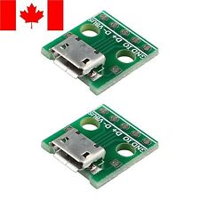 2 Pack USB Femal Micro Connector to 4 Pin 2.54mm DIP - SHIPS FROM CANADA