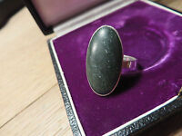 Toller 925 Silber Jugendstil Art Deco Großer Ovaler Granit? Schwarzer Stein TOP