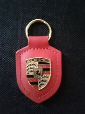 Genuine Porsche Red Leather Colour Crested Keyring Keyfob Key Ring WAP050092OE